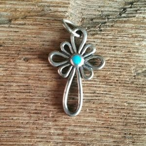 Jewelry - Sterling And Turquoise Cross Pendant